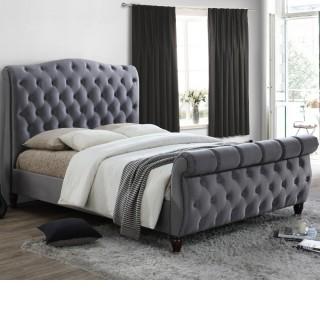 Colorado Grey Velvet Fabric Sleigh Bed