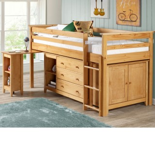 Cotswold Solid Pine Wooden Kids Mid Sleeper Sleep Station Desk Cabin Storage Bed