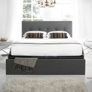 Hexham Smoke Fabric End Drawer Storage Bed