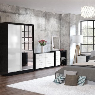 Lynx White and Black Wooden Bedroom Furniture Collections