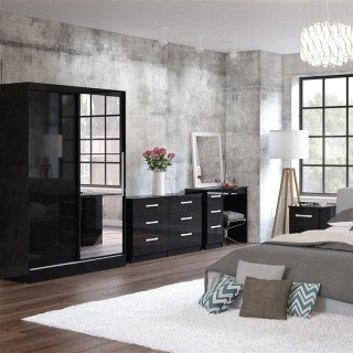 Lynx Black Wooden Bedroom Furniture Collections