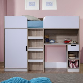 Paddington Oak and White High Sleeper Storage Bed