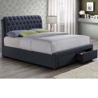 Valentino Charcoal Fabric 2 Drawer Storage Bed