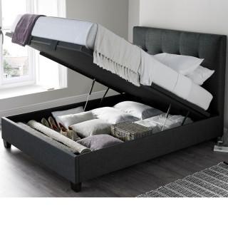 Walkworth Slate Fabric Ottoman Storage Bed